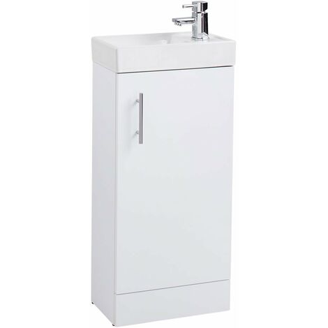 Cali Cube Vanity Unit with Basin - 400mm Wide - White