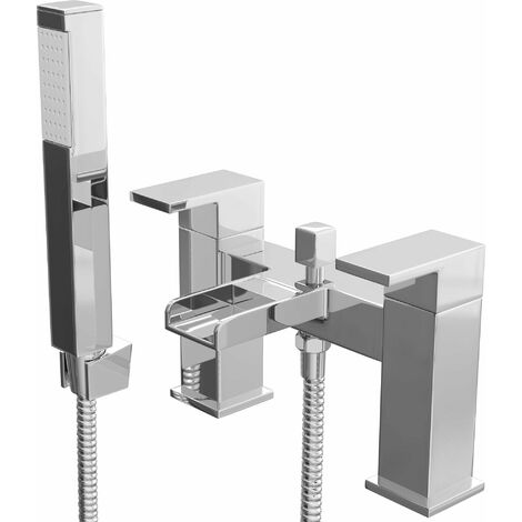 Cali Dunk Waterfall Bath Shower Mixer Tap Pillar Mounted - Chrome