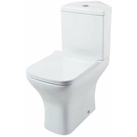 Cali Fair Corner Close Coupled Toilet Push Button Cistern Soft Close Quick Release Slimline Seat