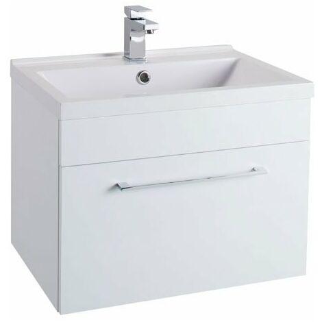Cali Idon 1-Drawer Wall Hung Vanity Unit With Basin - 600mm Wide - Gloss White