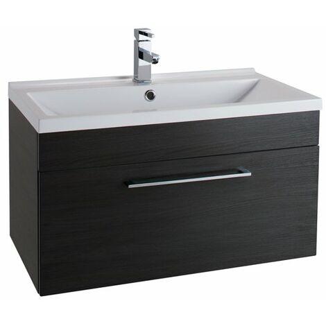 Cali Idon 1-Drawer Wall Hung Vanity Unit With Basin 800mm Wide - Black Ash