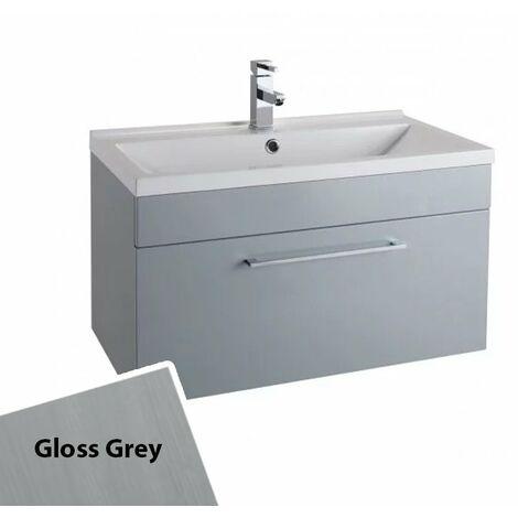 Cali Idon 1-Drawer Wall Hung Vanity Unit with Basin - 800mm Wide - Gloss Grey