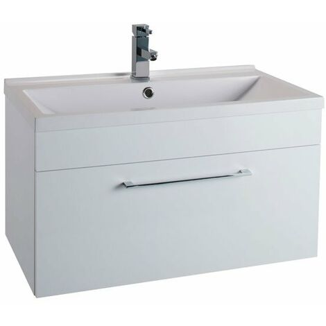 Cali Idon 1-Drawer Wall Hung Vanity Unit With Basin - 800mm Wide - Gloss White