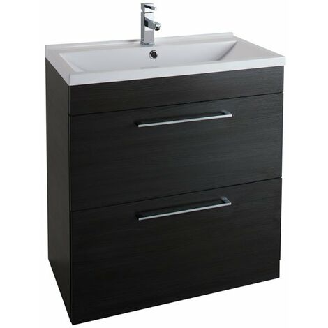 Cali Idon 2-Drawer Free Standing Vanity Unit With Basin 800mm Wide - Black Ash