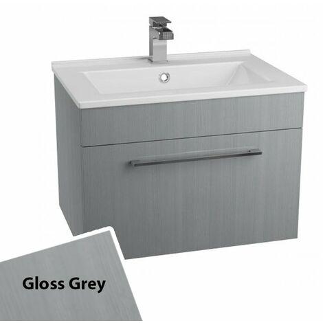 Cali Idon Wall Hung 1-Drawer Vanity Unit with Ceramic Mid Edge Basin 600mm Wide - Gloss Grey