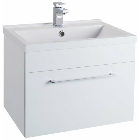 Cali Idon Wall Hung 1-Drawer Vanity Unit with Ceramic Mid Edge Basin 600mm Wide - Gloss White