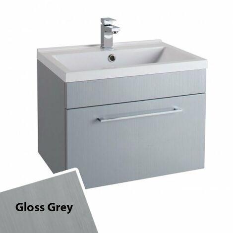 Cali Idon Wall Hung 1-Drawer Vanity Unit with Polymarble Minimalist Basin 600mm Wide - Gloss Grey