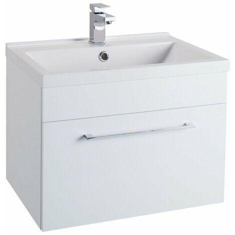 Cali Idon Wall Hung 1-Drawer Vanity Unit with Polymarble Minimalist Basin 600mm Wide - Gloss White