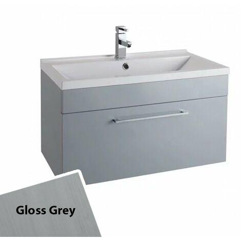 Cali Idon Wall Hung 1-Drawer Vanity Unit with Polymarble Minimalist Basin 800mm Wide - Gloss Grey