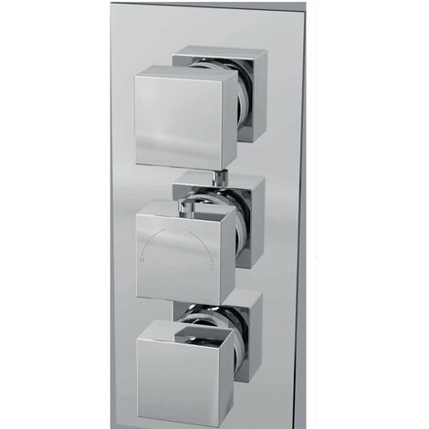 Cali Istra Square Concealed Shower Valve - Triple Handle - Chrome