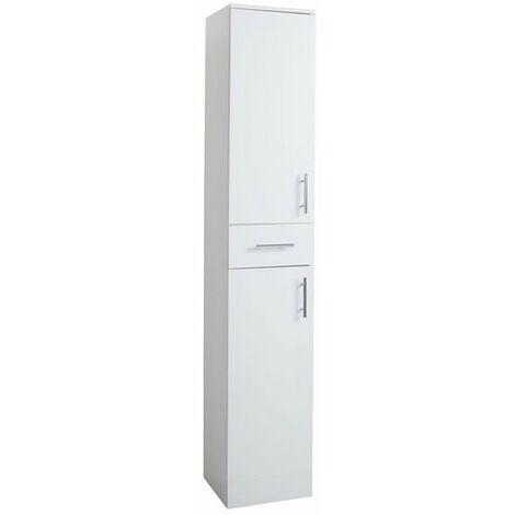 Cali Kass 2-Door and 1-Drawer Tall Boy Unit - 350mm Wide x 300mm Deep - Gloss White