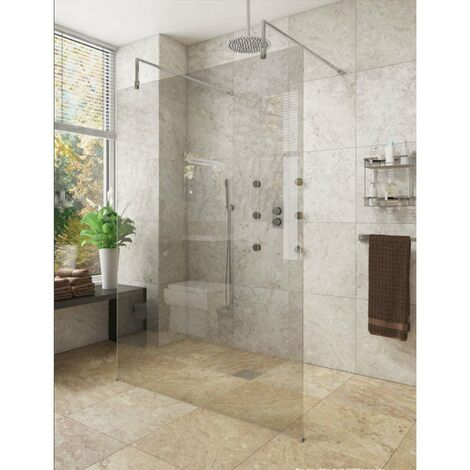 Cali Lana Free Standing Wet Room Screen 2000mm High x 1400mm Wide - 10mm Glass Only