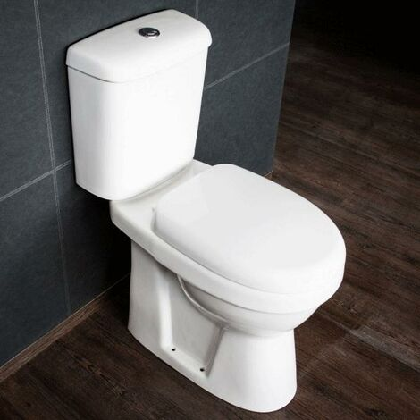 Cali Listra Comfort Height Close Coupled Toilet - Push Button Cistern - Soft Close Seat
