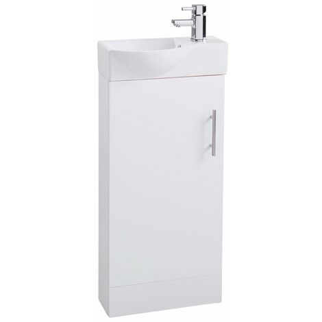 Cali Mini 1-Door Vanity Unit with Basin - 400mm Wide - Gloss White
