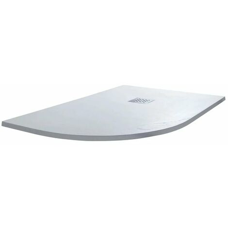 Cali Offset Quadrant Slate Effect Shower Tray with Waste Left Handed - 1200mm x 800mm - White