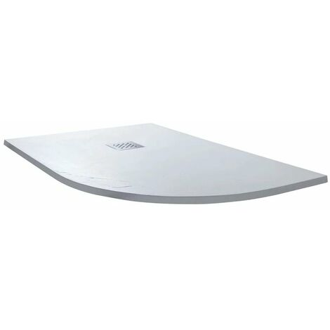 Cali Offset Quadrant Slate Shower Tray with Waste Right Handed - 1200mm x 800mm - White