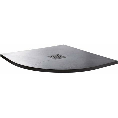 Cali Quadrant Slate Effect Shower Tray with Waste 800mm x 800mm - Anthracite
