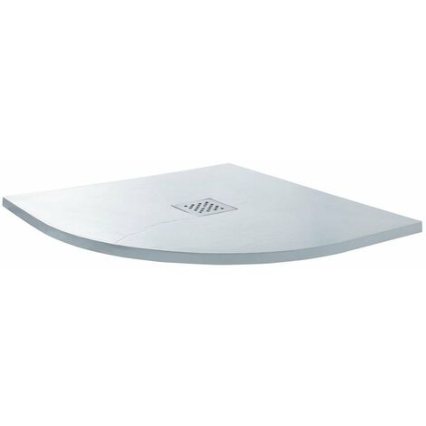 Cali Quadrant Slate Effect Shower Tray with Waste 800mm x 800mm - White
