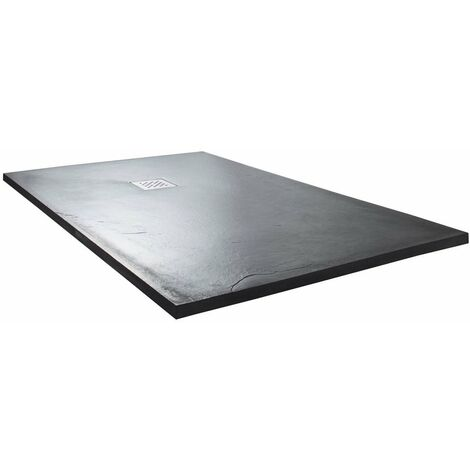 Cali Rectangular Slate Effect Shower Tray with Waste 1400mm x 800mm - Anthracite