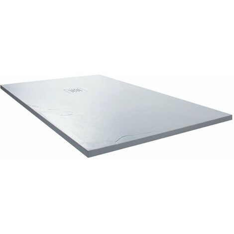 Cali Rectangular Slate Effect Shower Tray with Waste 1400mm x 800mm - White