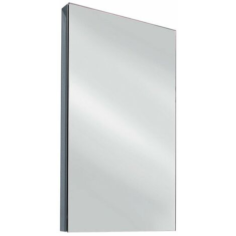 Cali Single Door Wall Hung Corner Mirror Cabinet - 300mm Wide - Polished Stainless Steel