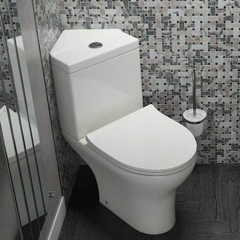 Cali Spek Corner Close Coupled Toilet and Push Button Cistern - Wrapover Seat