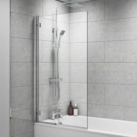 Cali Square Bath Screen 1400mm High x 800mm Wide - 8mm Glass