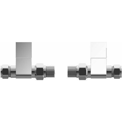 Cali Straight Square Head Radiator Valves Pair - Chrome