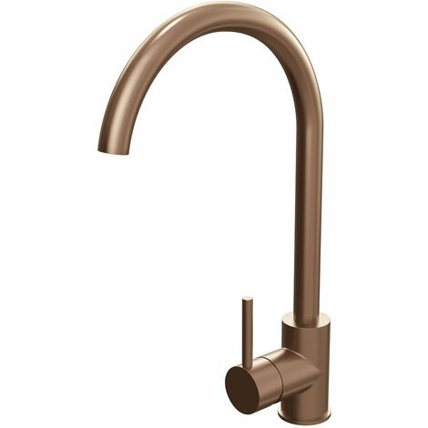 Cali Swan Neck Mono Kitchen Sink Mixer Tap - Brushed Copper