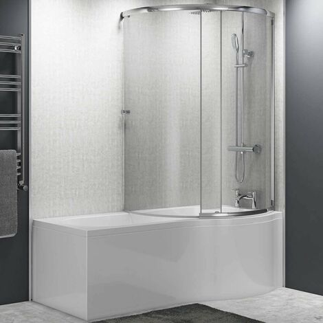 Cali Tempest P-Shaped Shower Bath Enclosure 1500mm X 700mm/850mm Right Handed, Panel and Screen