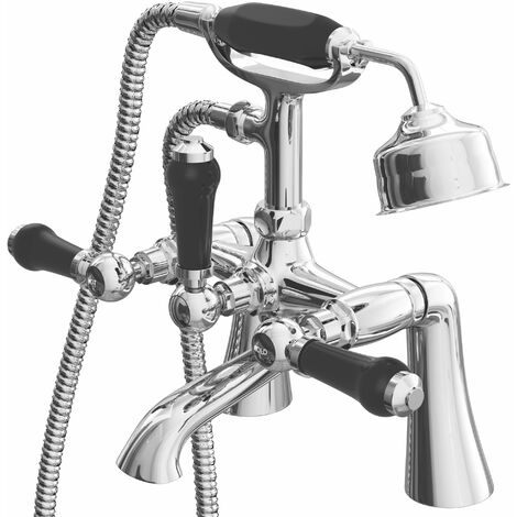 Cali Time Traditional Bath Shower Mixer Tap Deck Mounted - Black