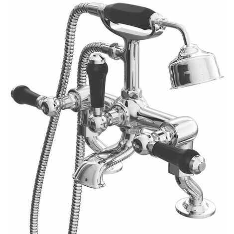 Cali Time Traditional Cranked Bath Shower Mixer Tap Deck Mounted - Black