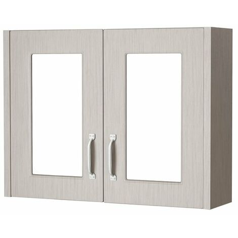 Cali Traditional Mirrored Bathroom Cabinet 800mm Wide 2 Door - Stone Grey
