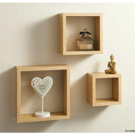 Cali Wall Floating Cube Box Shelf/Shelves Set of 3 Walls Storage Shelving Unit