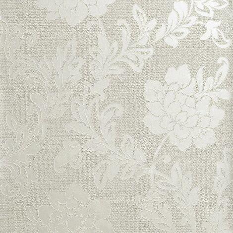 Calico Floral Wallpaper Flowers Metallic Embossed Neutral Cream Textured Vinyl