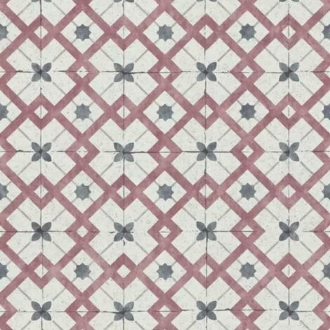 California Dreams Retro Tile Wallpaper Red Grey Textured Vintage Wall covering