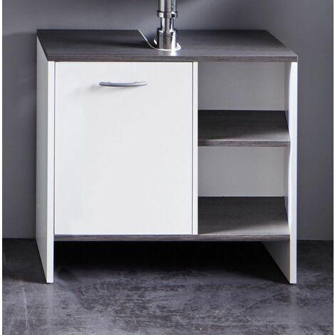 California - Meuble salle de bain mélaminé. Meuble sous vasque. L - H - P : 60 - 55 - 28 cm - Blanc