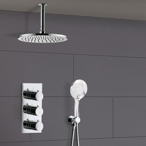 Calla 2 Way Round Ceiling Thermostatic Concealed Bathroom Shower Set Mixer