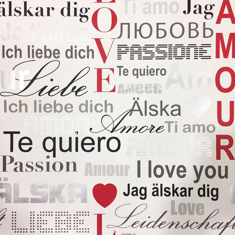 Calligraphy Typography Words Wallpaper Love You White Shiny Silver Red Belgravia