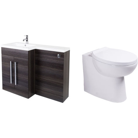 Calm Grey Left Hand Combination Vanity Unit Set with Back to Wall Splash Toilet Soft Close Seat and Concealed Cistern