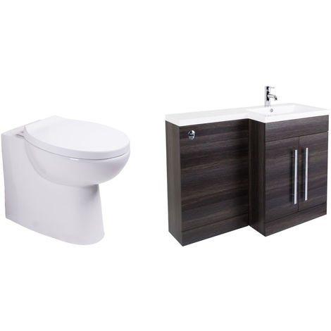 Calm Grey Right Hand Combination Vanity Unit Set with Back to Wall Splash Toilet Soft Close Seat and Concealed Cistern
