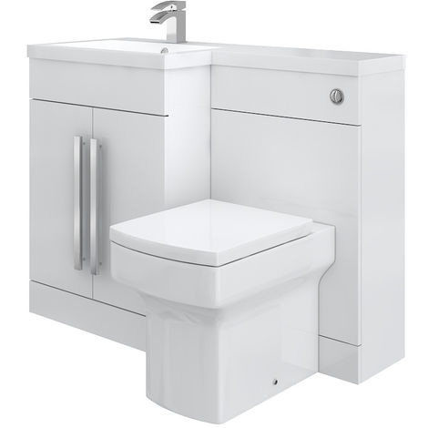 Calm White Left Hand Combination Vanity Unit Set with Boston Toilet