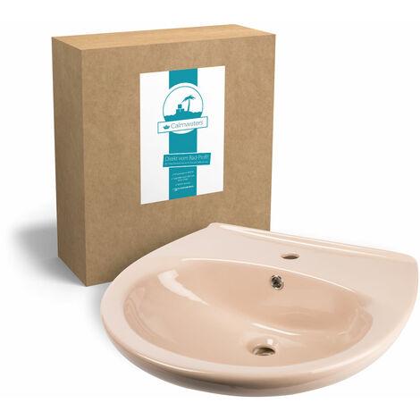 Calmwaters® 60 cm breites Waschbecken aus Keramik in Beige-Bahamabeige mit Überlauf zur Wandmontage - 05AB2297