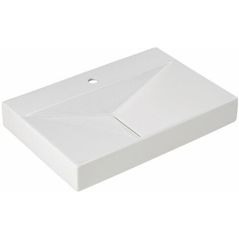 Calmwaters® 65 cm großes Waschbecken aus Keramik ohne Überlauf zur Wandmontage in eckiger Form – 05BC2359
