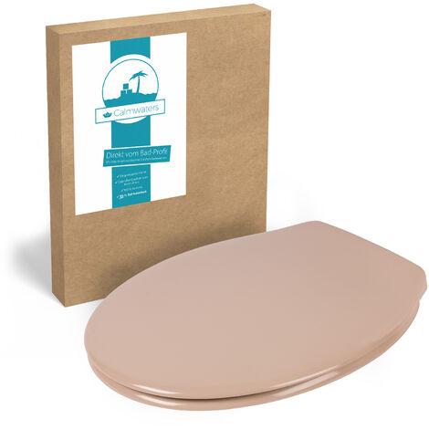 Calmwaters® Antibakterieller WC-Sitz Beige-Bahamabeige Essential Soft, rostfreie Edelstahl-Schnell-Befestigung Fast-Fix, universale O Form, Duroplast Toilettendeckel, Beige-Bahamabeige - 26LP2745