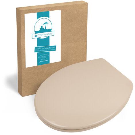 Calmwaters® Antibakterieller WC-Sitz Beige-Bahamabeige mit Absenkautomatik Essential Soft, Schnellbefestigung Fast-Fix, universale O Form, robuster Duroplast Kunststoff, Beige-Bahamabeige - 26LP2912