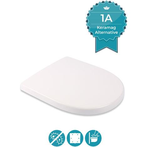 Calmwaters® Antibakterieller WC Sitz für Keramag iCon 204000 & 204060, D-Form mit rostbeständigen Metall-Scharnieren, überlappend, aus Duroplast, Weiß - 26LP5381