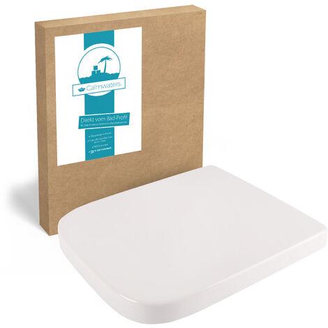 Calmwaters® Antibakterieller WC Sitz für Keramag Renova Nr. 1 Plan 202150 & 202160, rostfreie Edelstahl-Befestigung, eckige Form, Duroplast, Weiß – 26LP3257