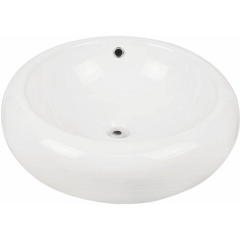Calmwaters® Aufsatzbecken Exclusive 3, runde Form mit 52 cm Durchmesser in Weiß - 14BC3136