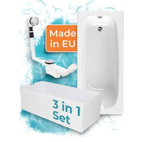 Calmwaters® Badewanne Komplettset 170x75 cm - Made in EU, 3in1 Acryl-Badewanne mit Wannenträger & Ablaufgarnitur, Körperformbadewanne, Original Rechteckbadewanne 170 x 75, Weiß, 99000088